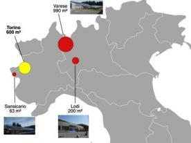 The map shows the three existing SDH plants in Varese, Sansicario and Lodi (red circles). A fourth with a gross area of about 600 m² is expected to come online in 2020 to feed heat into Turin's district network operated by the Iren Group utility (yellow cirle). (Source: Ambiente Italia)
