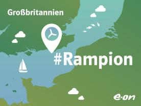 The first of 116 MHI Vestas 3.45MW tubines has been commissioned at Rampion offshore wind farm. (Graphic: E.ON)