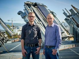 The project managers at the Institute for Solar Technology SPF, Igor Mojic and Michael Haller (Photo: HSR University of Applied Sciences Rapperswil)