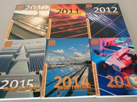 The last six editions of the Solar Thermal World Address Book.