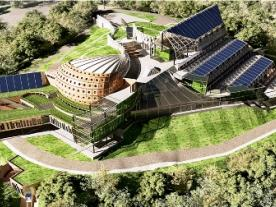 The photo shows the FEFU campus model created by Natalia Bakaeva; several other design studies are presented in the document attached to this news article. (Graphic: FEFU)