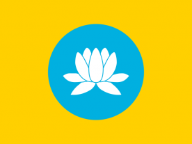 A 51 MW wind park will be constructed in the Republic of Kalmykia – the only region in Europe where Buddhism is practiced by a plurality of the population (according to a 2012 census 37.6%). (Picture of the Flag of Kalmykia: Drawn by Conscious [Public domain], via Wikimedia Commons)