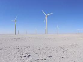 Photomontage illustrating the future 90 MW wind farm in the Valle de Los Vientos, Chile (Photo: SoWiTec)